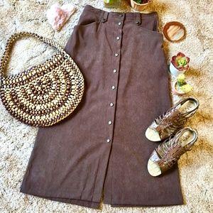 {Vintage} Dark Brown Suede Button Front Maxi Skirt